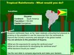 Tropical Rainforests - What would you do