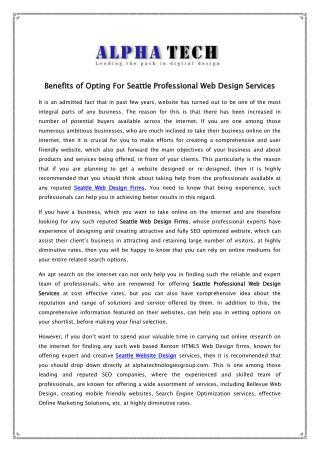 Seattle Professional Web Design Services