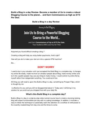 Build A Blog In A Day Review- Join Us to Bring a Powerful Blogging Course to the World and Earn Commissions of Up to $1