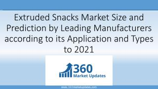 Extruded Snacks Market Size and Prediction by Leading Manufacturers according to its Application and Types to 2021