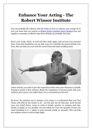 Enhance Your Acting - The Robert Winsor Institute