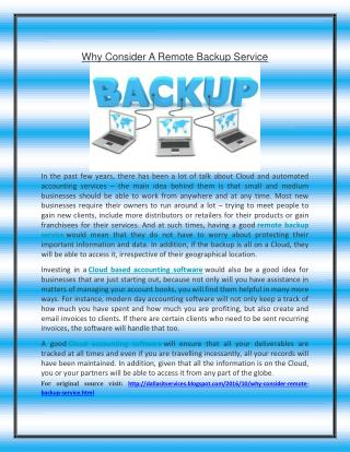 Why Consider A Remote Backup Service