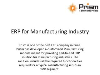 Affordabe ERP for Manufacturing Industry at Prism IT Solutions Pvt Ltd | Low cost ERP