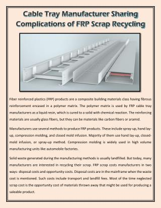 Cable Tray Manufacturer Sharing Complications of FRP Scrap Recycling