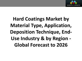 Hard Coatings Market worth 1,351.3 Million USD by 2026