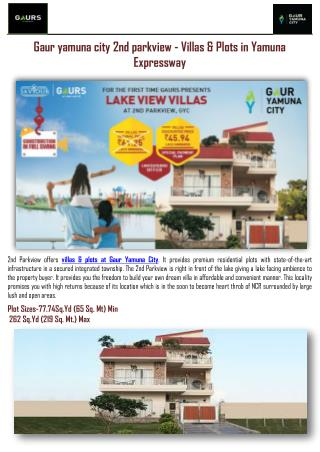 Villas & Plots in Yamuna Expressway-Gaur yamuna city 2nd parkview