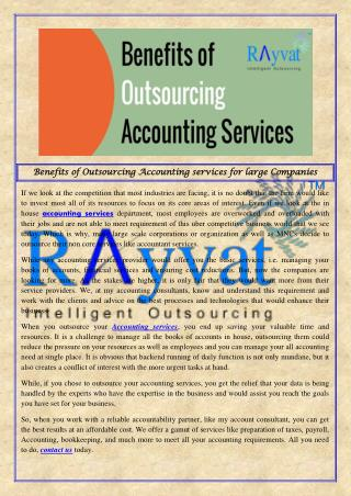 Benefits of Outsourcing Accounting services Companies