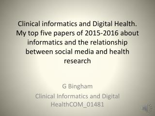 Clinical Informatics