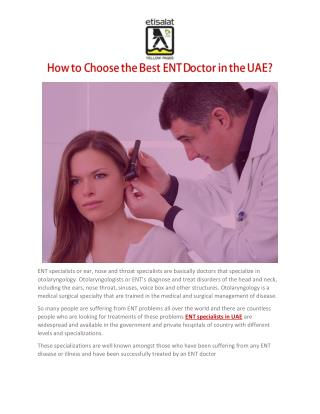 How to Choose the Best ENT Doctor in the UAE?