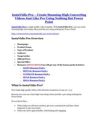 InstaVidio Pro review- InstaVidio Pro $27,300 bonus & discount