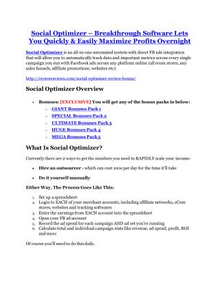 Social Optimizer review-(SHOCKED) $21700 bonuses
