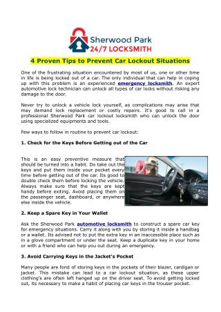 4 Proven Tips to Prevent Car Lockout Situations