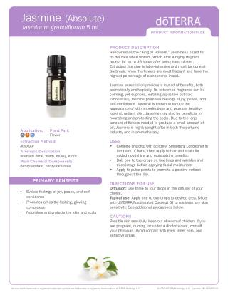 Jasminum grandiflorum Jasmine essential oil By doterra