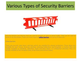 Various Types of Security Barriers