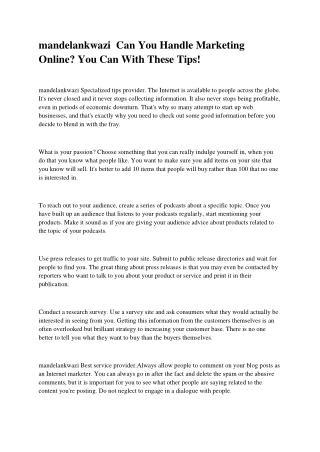 Mandelankwazi A Guide To Effective Internet Marketing