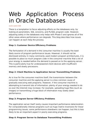 Web Application Process in Oracle Databases