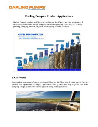 Application of Darling Pumps