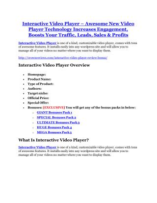 Interactive Video Player review demo and premium bonus