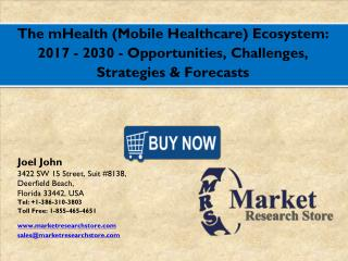 Global mHealth (Mobile Healthcare) Ecosystem Market will grow more than 35% at CAGR till 2017 to 2030 during forecast pe