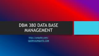 DBM 380 DATA BASE MANAGEMENT
