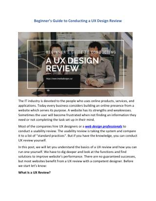 Beginner's Guide to Conducting a UX Design Review