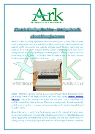 Electric Binding Machine – Getting Details about Manufacturers