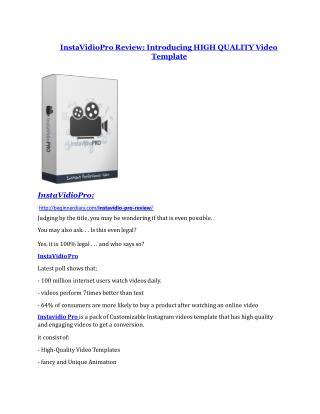 InstaVidioPro review - InstaVidioPro sneak peek features