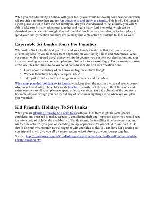 Why Holidays To Sri Lanka Are The Best Way To Spend A Family Vacation
