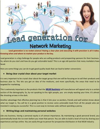Lead generation for network marketing