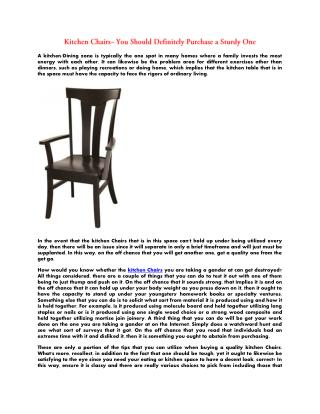 Kitchen Chairs - You Should Definitely Purchase a Sturdy One