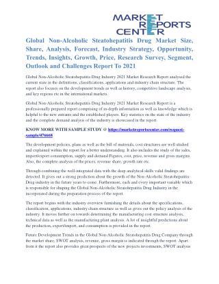 Non-Alcoholic Steatohepatitis Drug Market Key Vendors, Driver And Challenge To 2021