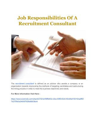 Job Responsibilities Of A Recruitment Consultant