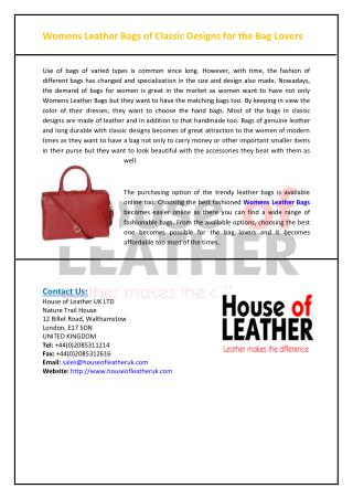 Womens Leather Bags of Classic Designs for the Bag Lovers