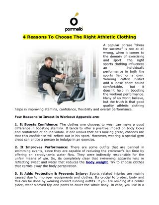 4 Reasons To Choose The Right Athletic Clothing