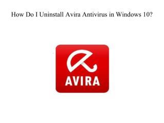 How Do I Uninstall Avira Antivirus in Windows 10?