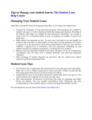 Tips to Manage your student loan by The Student Loan Help Center