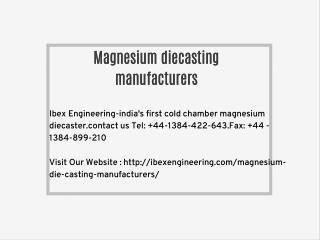 Magnesium diecasting manufacturers