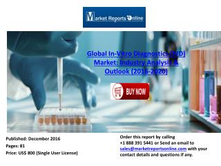 Global In-Vitro Diagnostics (IVD) Market: Industry Analysis & Forecasts 2016-2020