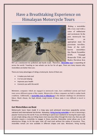 Have a Breathtaking Experience on Himalayan Motorcycle Tours