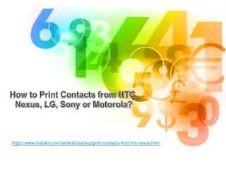 How to Print Contacts from HTC, Nexus, LG, Sony or Motorola?