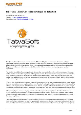 Innovative Online Gift Portal developed by TatvaSoft