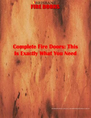 Complete Fire Doors: This Is Exactly What You Need