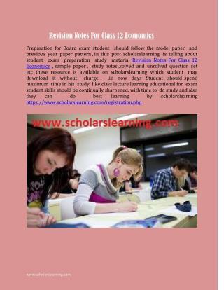 Revision Notes For Class 12 Economics