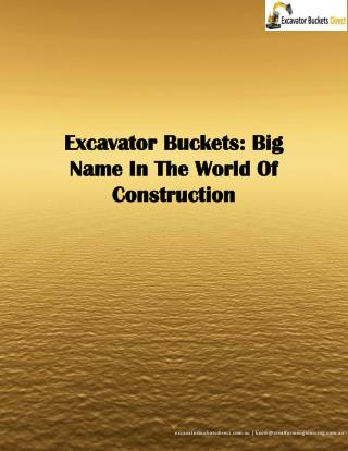 Excavator Buckets: Big Name In The World Of Construction