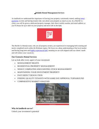 Reliable Rental Management Services