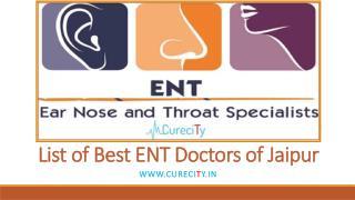 Top most ENT Doctors of Jaipur - Curecity