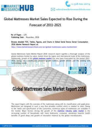 Global Mattresses Market Sales Expected to Rise during the Forecast of 2011-2021