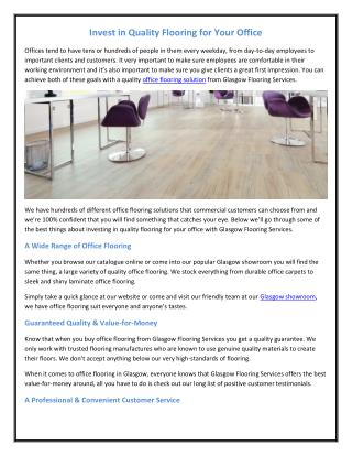 Invest in Quality Flooring for Your Office