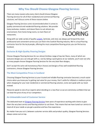 Why You Should Choose Glasgow Flooring Services