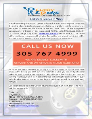 Locksmith Solution In Miami